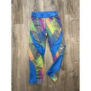 Nike Pro Neon Cropped Leggings With Mesh Accents